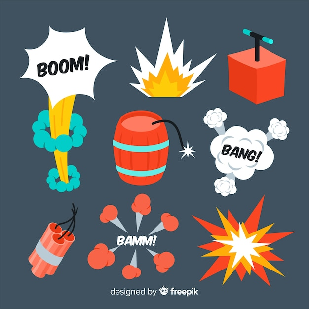 Projeto dos desenhos animados da coleção do efeito da explosão Vetor grátis