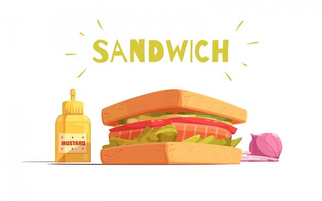 Projeto dos desenhos animados de sanduíche com torradas salada de tomate salmão cortada a cebola e mostarda Vetor grátis