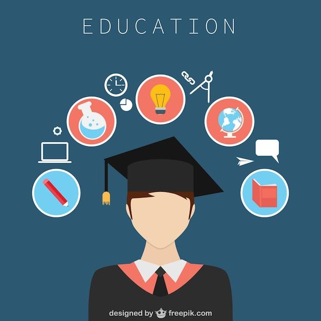 Projeto educação com ícones Vetor grátis