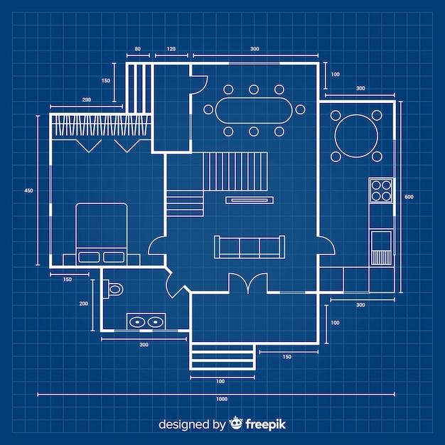 Projeto em planta para uma nova casa Vetor Premium