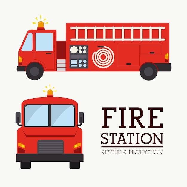 Projeto firefigther sobre ilustração vetorial de fundo branco Vetor Premium