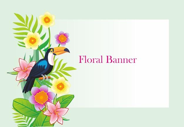 Projeto floral da bandeira de toucan Vetor Premium
