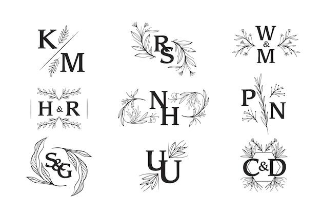 Projeto floral dos monogramas do casamento Vetor grátis