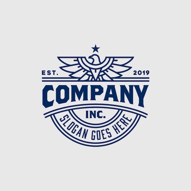 Projeto forte do logotipo do emblema do falcão de eagle hawk do vintage Vetor Premium