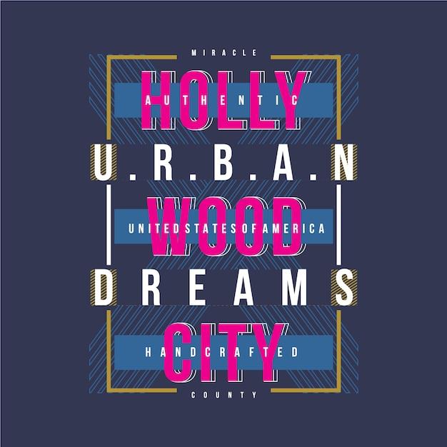 Projeto gráfico de vetor da cidade de hollywood camiseta Vetor Premium