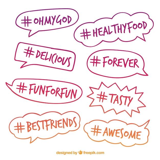 Projeto Hashtag Com Bolhas De Discurso Brilhantes Vetor Grátis