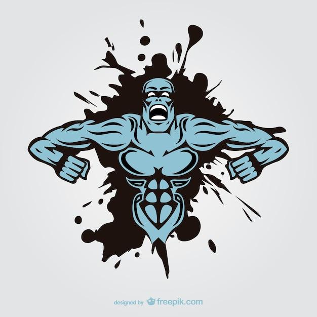 Projeto homem monstro muscular tatuagem Vetor grátis
