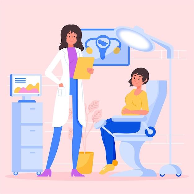 Projeto ilustrado para consulta de ginecologia Vetor grátis