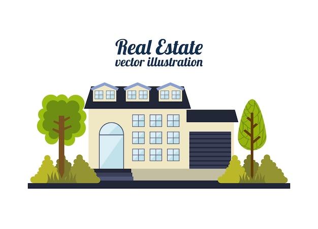 Projeto imobiliário sobre ilustração vetorial de fundo branco Vetor Premium