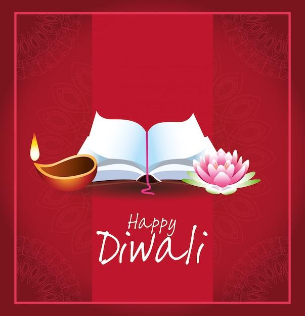 Projeto indiano feliz da celebração de diwali Vetor Premium