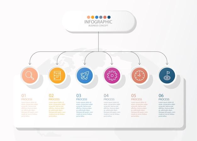 Projeto infográfico com ícones de linhas finas e 6 opções ou etapas para gráficos de informação, fluxogramas, apresentações, sites, banners, materiais impressos. conceito de negócio de infográficos. Vetor Premium