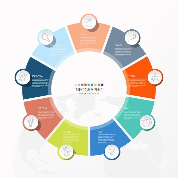 Projeto infográfico com ícones de linhas finas e 9 opções ou etapas para gráficos de informações, fluxogramas, apresentações, sites, banners, materiais impressos. conceito de negócio de infográficos. Vetor Premium