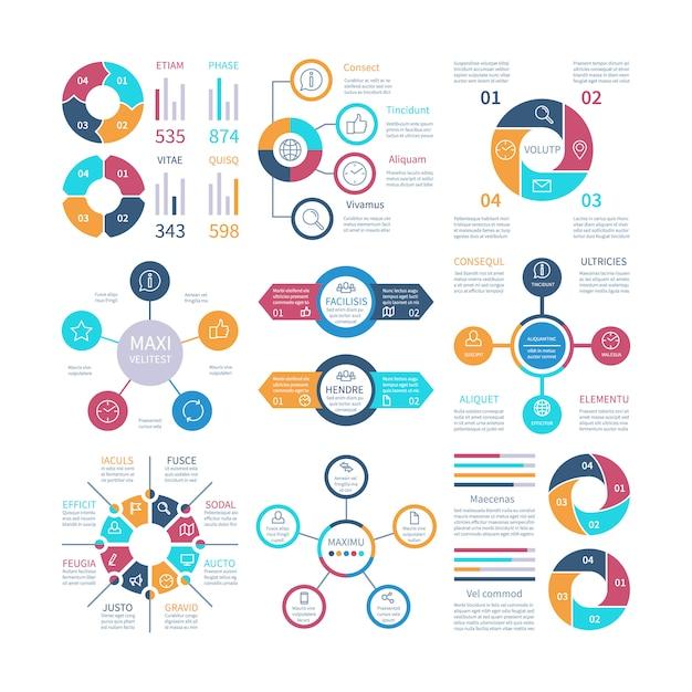 Projeto infográfico gráficos de pizza e diagrama de círculo de etapa, layouts de texto bar gráficos e histogramas infográficos conjunto Vetor Premium