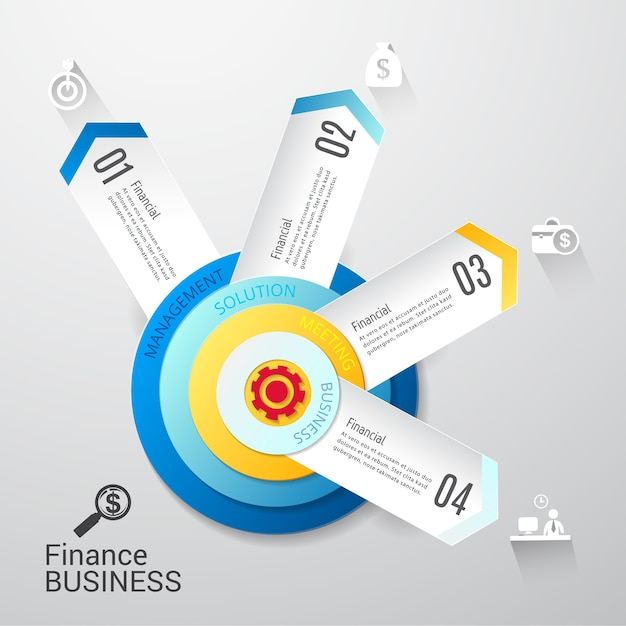 Projeto infographic das opções do molde 4 do negócio moderno. Vetor Premium