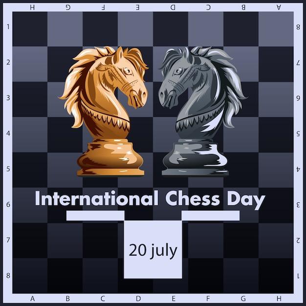 Projeto internacional da etiqueta da ilustração do vetor do dia da xadrez. 20 de julho. Vetor Premium