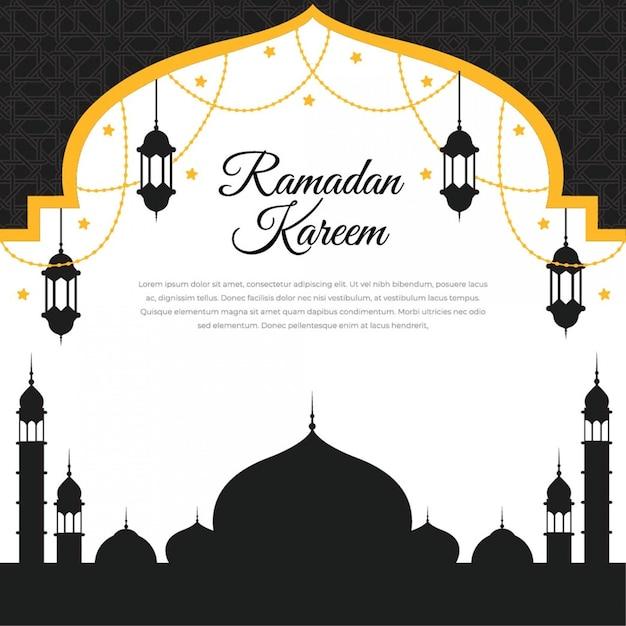 Projeto islâmico de ramadan kareem com lanterna e mesquita de silhueta Vetor Premium