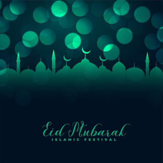 Projeto islâmico do cumprimento do bokeh da mesquita do eid mubarak Vetor grátis