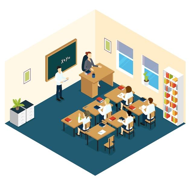Projeto isométrico da sala de aula escolar Vetor grátis