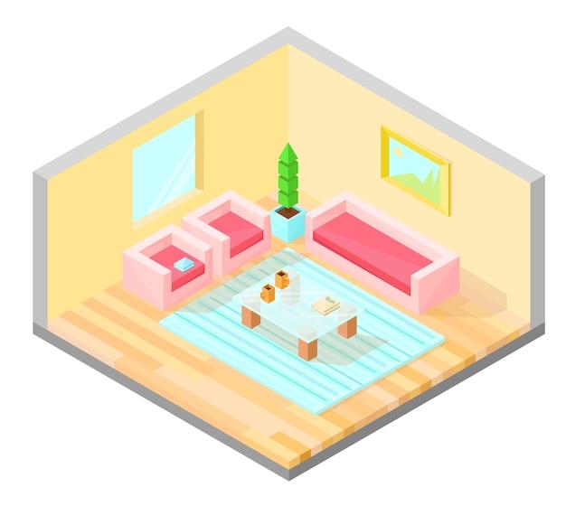 Projeto isométrico da sala de estar com mesa, poltrona, sofá, planta, pintura e carpete. Vetor Premium