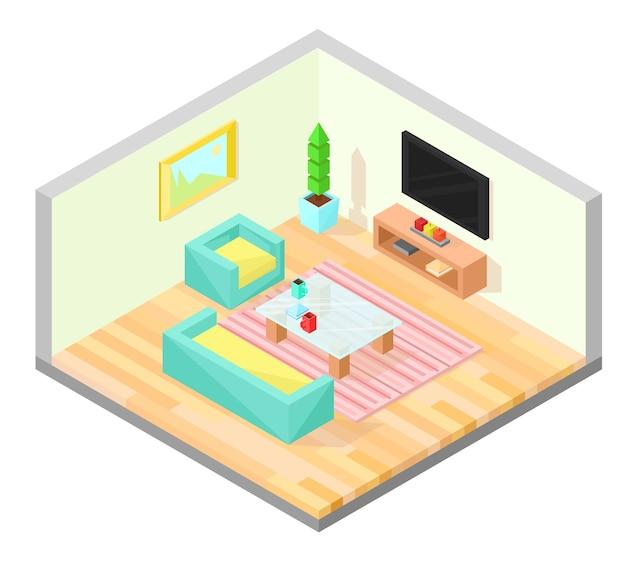 Projeto isométrico da sala de estar com mesa, tv, poltrona, sofá, planta, pintura e carpete. Vetor Premium