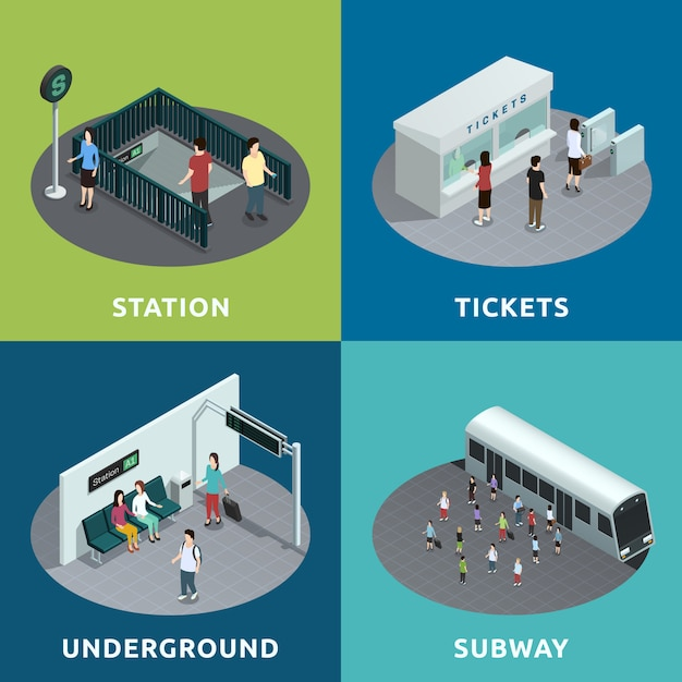Projeto isométrico de metrô Vetor grátis