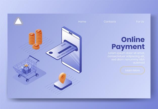 Projeto isométrico de pagamento digital Vetor Premium
