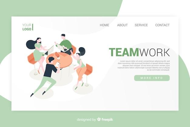 Projeto isométrico de página de destino de trabalho em equipe Vetor grátis