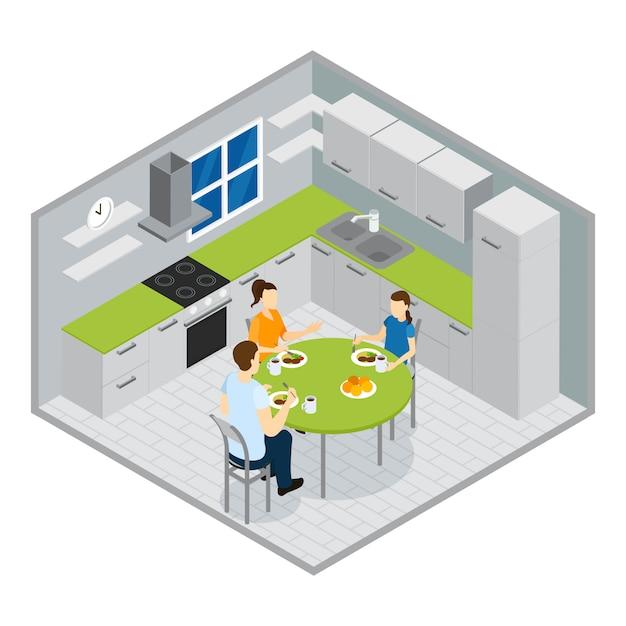 Projeto isométrico de refeição em família Vetor grátis