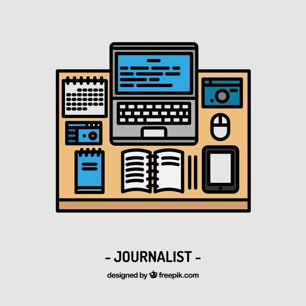 Projeto jornalista local de trabalho Vetor grátis