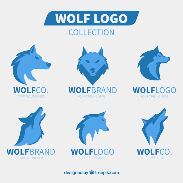 Projeto liso da coleção do logotipo do lobo Vetor grátis