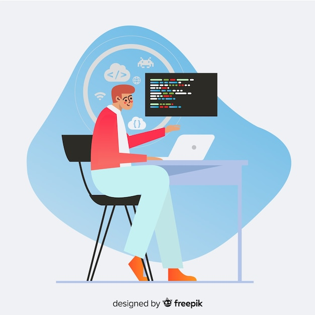 Projeto liso da ilustração decorativa do programador Vetor grátis
