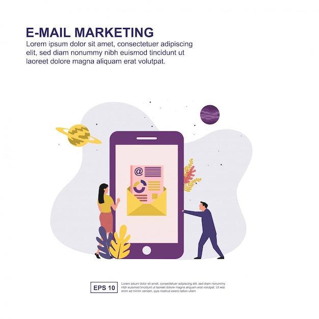 Projeto liso da ilustração do vetor do conceito do mercado do email. Vetor Premium