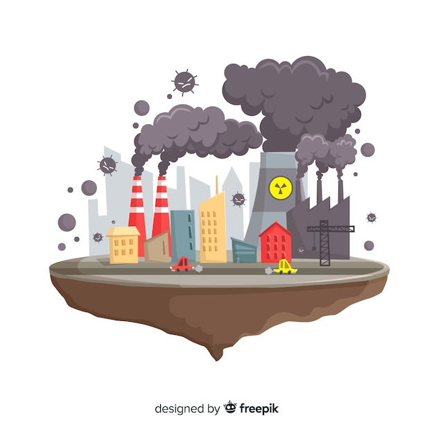 Projeto liso do fundo do conceito da poluição Vetor grátis
