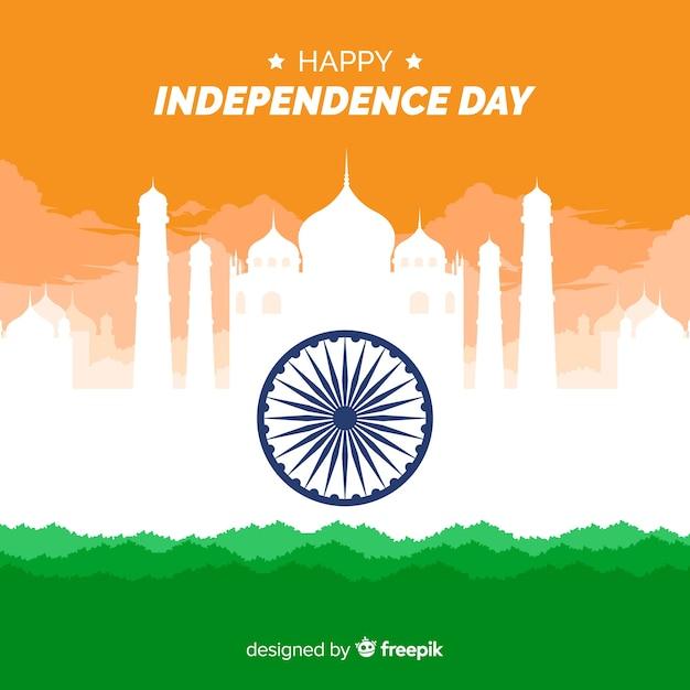 Projeto liso do fundo do dia da independência da índia Vetor grátis