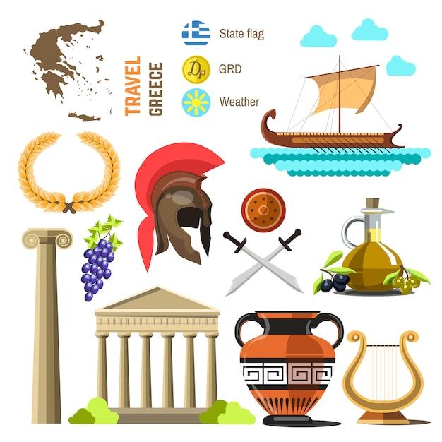 Projeto liso dos ícones do marco de grécia. Vetor Premium