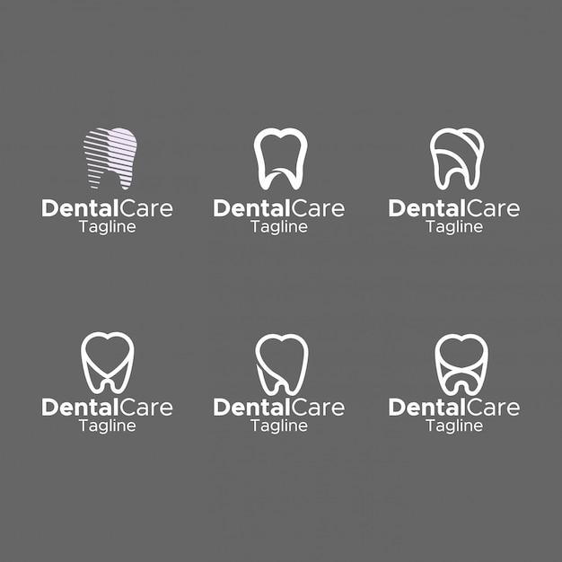 Projeto liso elegante do monograma simples do logotipo dental Vetor Premium