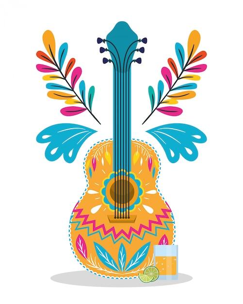 Projeto mexicano de guitarra e tequila, méxico cultura turismo marco latino e tema de festa ilustração vetorial Vetor Premium