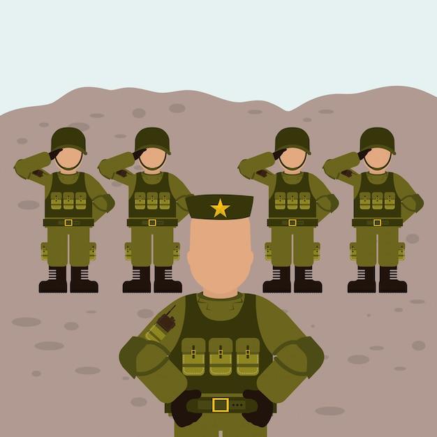 Projeto militar das forças armadas Vetor Premium