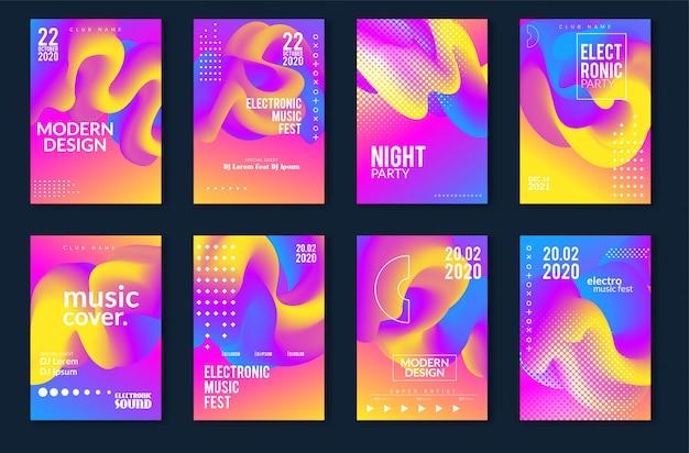 Projeto mínimo do cartaz do festival de música eletrônica. fundo moderno colorido linhas pontilhadas para flyer, capa. ilustração vetorial Vetor Premium