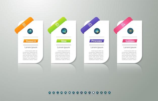 Projeto negócios modelo 4 opções ou etapas infográfico elemento gráfico. Vetor Premium