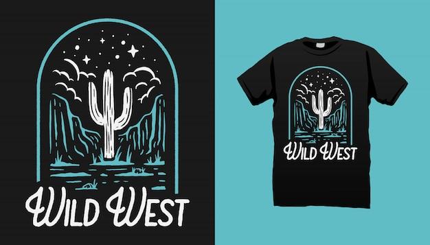 Projeto ocidental selvagem do tshirt do deserto Vetor Premium