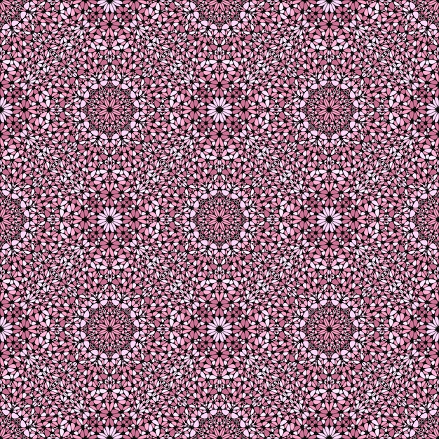 Projeto oriental do teste padrão oriental do mosaico de pedra cor-de-rosa abstrato sem emenda Vetor Premium