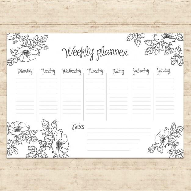 Projeto planejamento semanal Vetor grátis