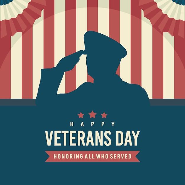 Projeto plano do dia dos veteranos Vetor Premium