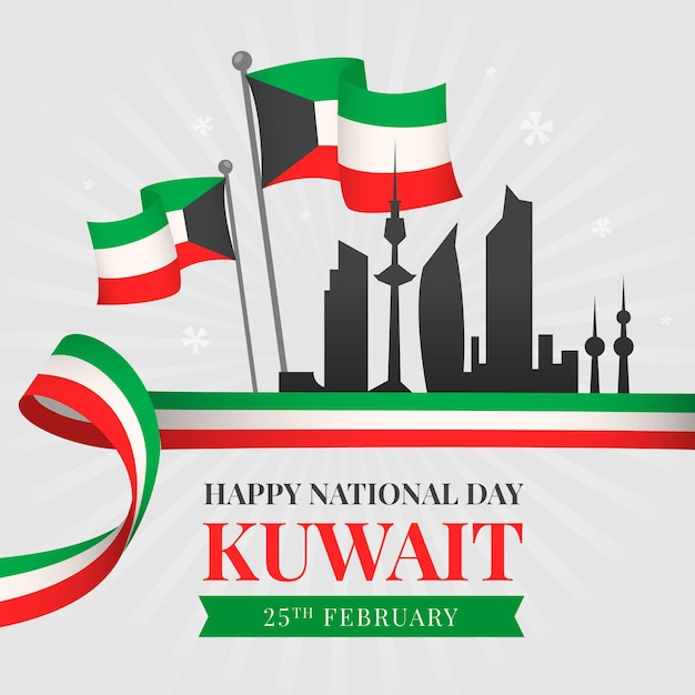 Projeto plano silhueta do dia nacional kuwait da cidade Vetor grátis