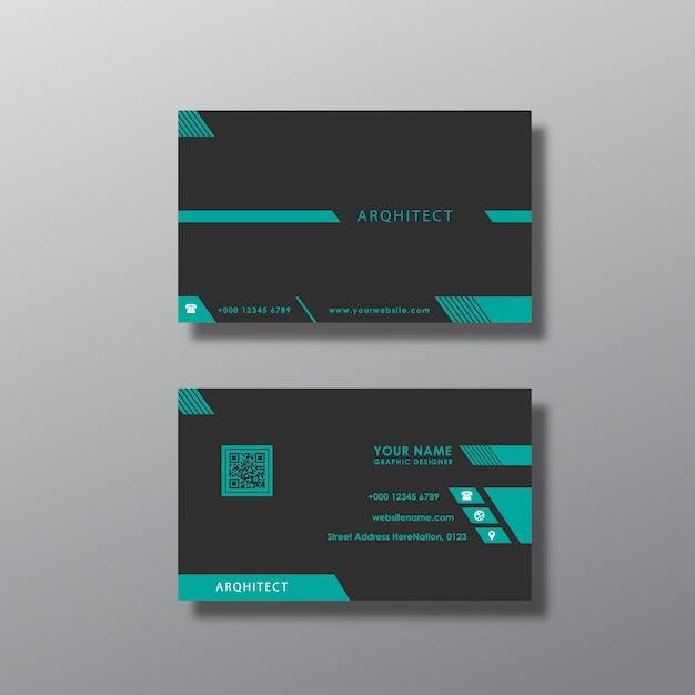 Projeto preto e azul do cartão de visita Vetor grátis