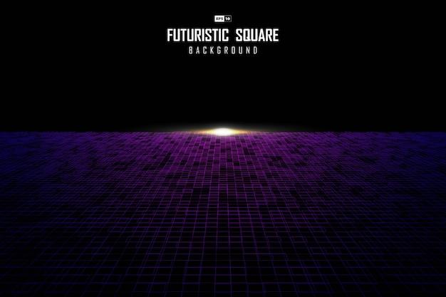 Projeto quadrado abstrato do teste padrão de perspectiva com fundo de luz modelo flare. Vetor Premium