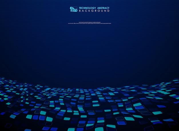 Projeto quadrado azul abstrato do voo do fundo da tecnologia. Vetor Premium