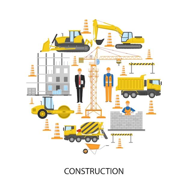 Projeto redondo de construção com pessoal masculino, sistema de barreira para alvenaria de equipamentos de construção Vetor grátis