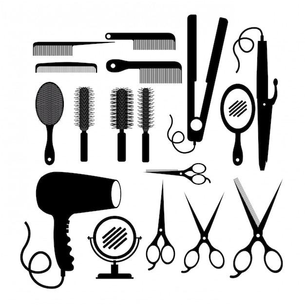 Projeto salão de cabelo Vetor Premium